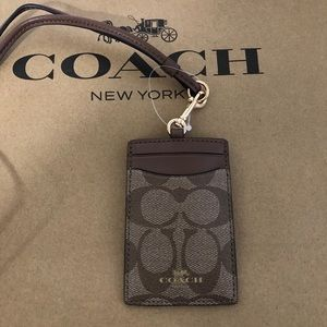 Authentic Coach Signature Khaki/Brown Lanyard NWT